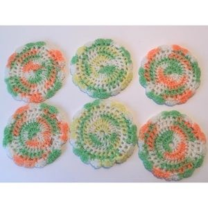 Vintage handmade Crochet Yarn Coasters, Set Of 6